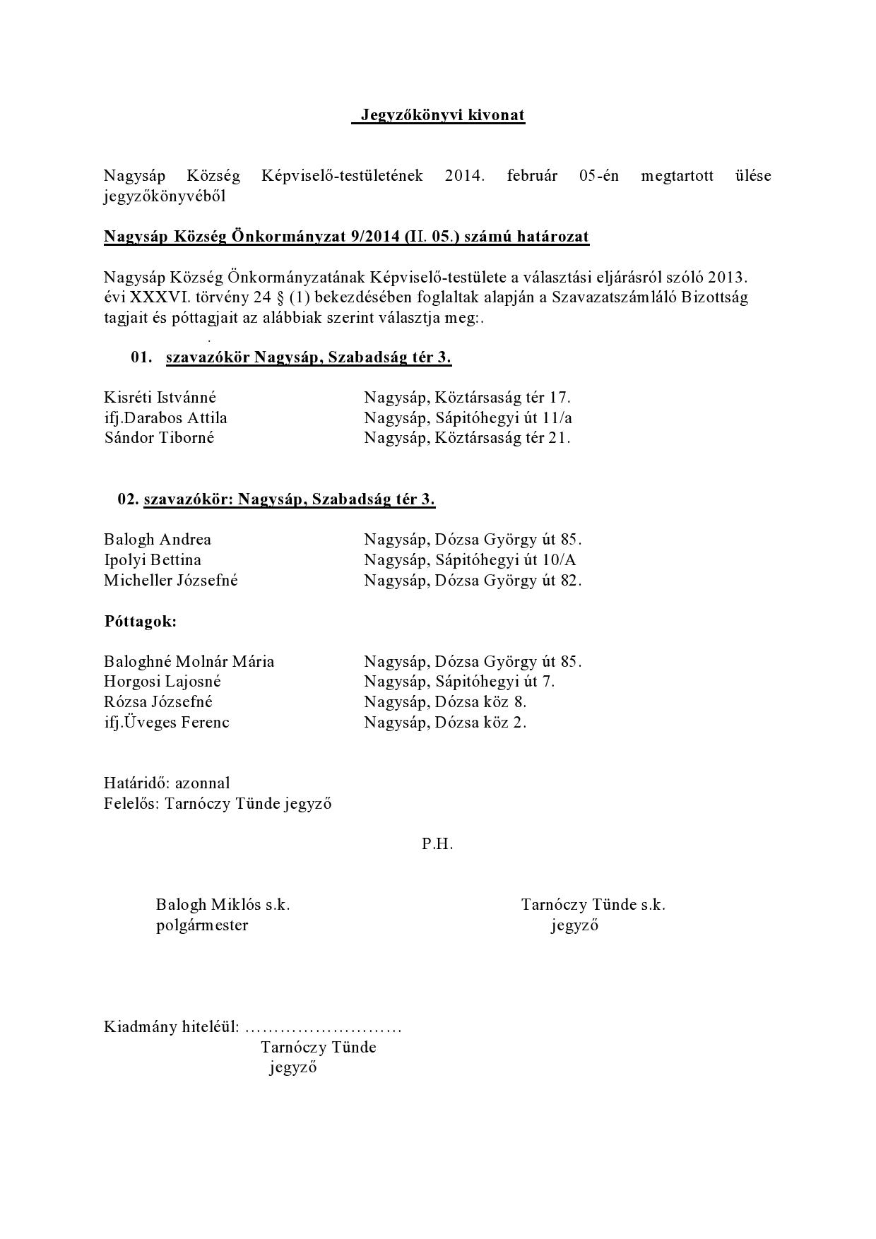 Jegyzőkönyvi kivonat SZSZB-page0001